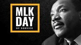 Photo of Martin Luther King Jr. and box saying MLK Day of Service