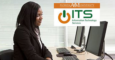 African American woman in computer lab, Florida A&M logo