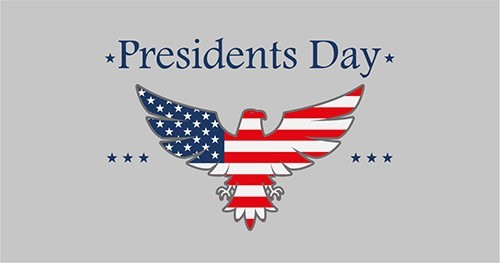 Presidents Day illustration of an eagle with the American flag overlay